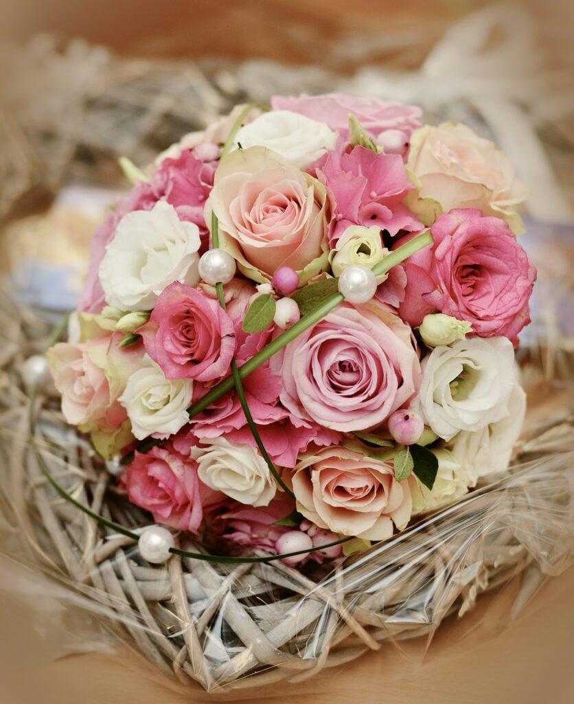 bridal bouquet, roses, wedding